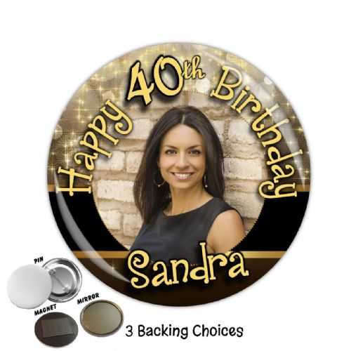 Large 75mm Personalised Black & Gold Happy Birthday PHOTO Badge N38